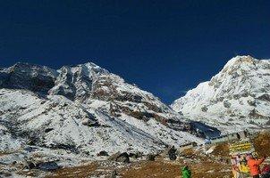 Вид из АВС.  Світанок біля підніжжя Аннапурни. Непал, Hikeup