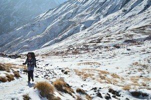 По дороге в АВС.  Світанок біля підніжжя Аннапурни. Непал, Hikeup