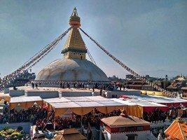 Ступа Боуднатх в день освящения после реконструкции.  Світанок біля підніжжя Аннапурни. Непал, Hikeup