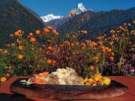 Обед в Чомронге. Стейк под соусом снежных вершин.  Світанок біля підніжжя Аннапурни. Непал, Hikeup