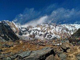 Человек и восьмитысячная Аннапурна I. Вид из АВС.  От Марди до Аннапурны. Непал, Hikeup