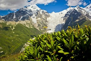 Вид на Тетнульд с перевала Чхутниери.  Трекинг в Сванетии, Грузия, Hikeup