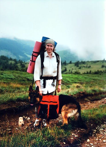 Первое испытание собачьего «рюкзака» в Карпатских горах
