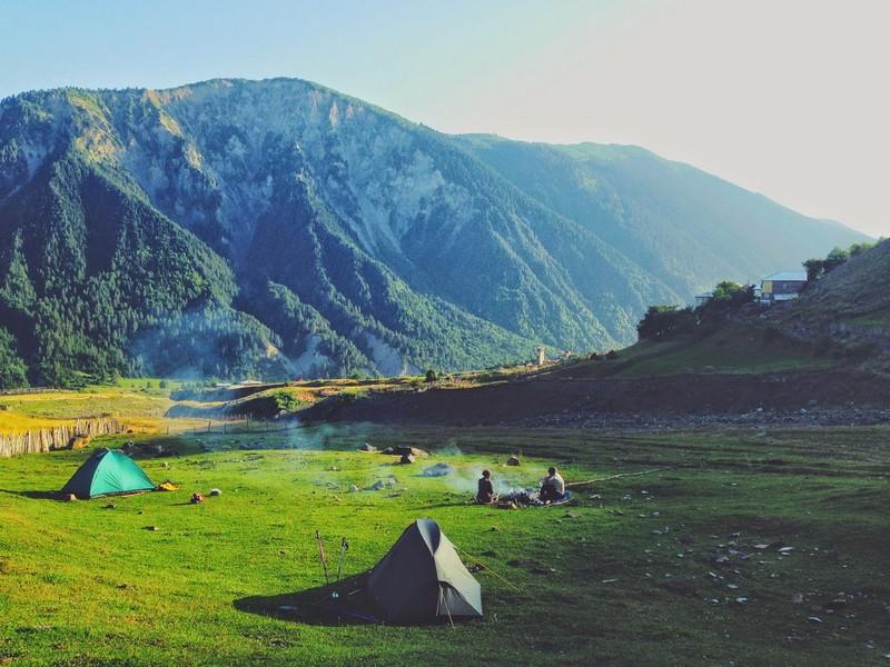 Наш лагерь на закате дня