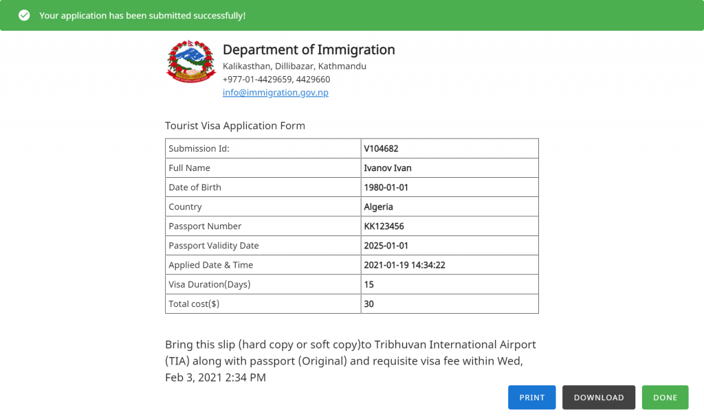 Example for Visa form
